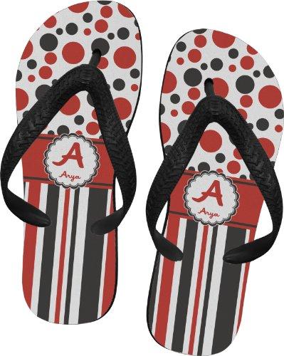 Red & Black Dots & Stripes Flip Flops - Large front-1017940