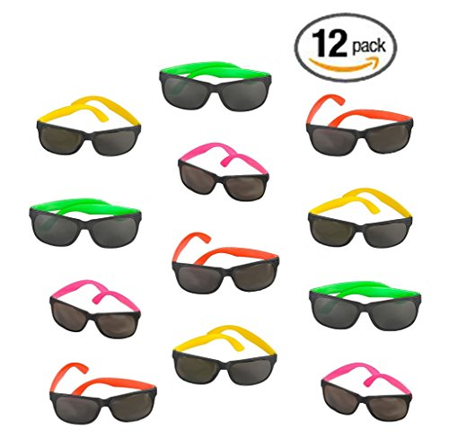 12 Pack 80's Style Neon Party Sunglasses - Fun Gift, Party Favors, Party Toys, Goody Bag Favors Beautiful Carnival Glass