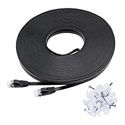 Ethernet Cable Cat6 Flat 14ft Black,jadaol Network Cable Cat 6 Flat Ethernet Patch Cable,internet Cable with Rj45 Connectors-14 Feet Black (4.2 Meters)