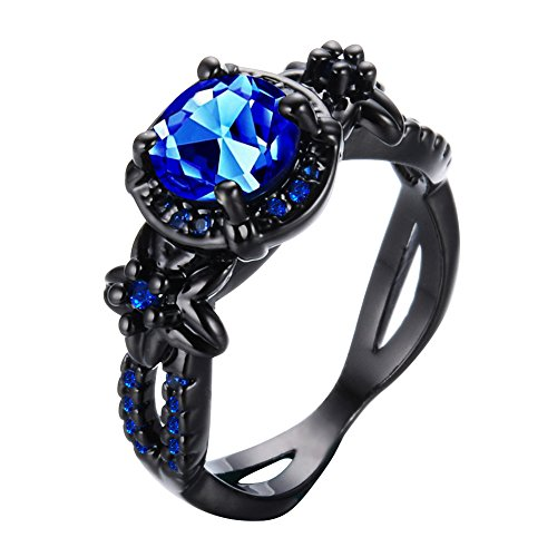 Bamos Jewelry Womens Lab Blue Bright Stone Ring Promise Wedding Engagement Gift Black Gold Plated Womens Rings Size 6-10