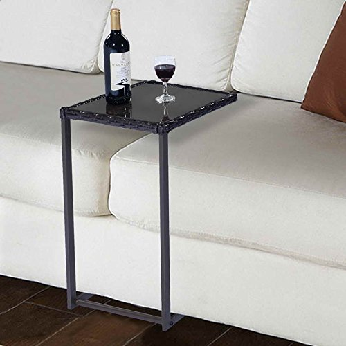 Safstar Coffee Tea Tray Side Sofa Couch Chair End Table with Wicker Rattan Square Glass Furniture, Brown (Side Tables And Coffee Tables compare prices)