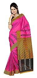 Balkrishna Fabrics Women's Bhagalpuri Silk Sarees (Pink and Yellow)