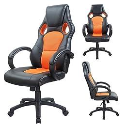 Duhome 0404 Fauteuil de bureau ergonomique en cuir synthétique et maille avec repose-tete et fonction bascule Orange
