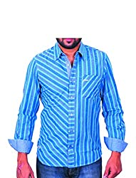 Being hearted men's Stripe Casual Shirt STRP2CLRBLUE_ BLUE_XL