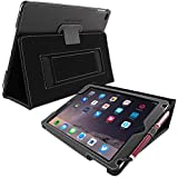 iPad Air Case, SnuggTM - Black Leather Smart Case and Stand with Elastic Hand Strap - Protective Apple iPad Air (iPad 5) Flip Cover - Includes Lifetime Guarantee