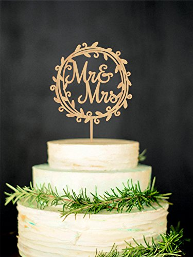 WTA1039 WTA - Mr Mrs Wedding Cake Topper Rustic Mr and Mrs Cake Topper Wooden Cake Topper Wreath Cake Topper