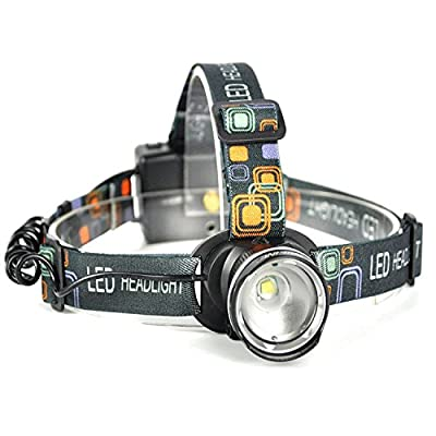 Mifine 1200 Lumens CREE XM-L T6 LED Waterproof Headlamp with Zoomable Light 3 Modes Hands Free Flashlight Head Lamp Torch Headlight for Hiking Camping Hunting Biking Caving with Adjustable Strap Powered by 3*AA Batteries (Not Included)