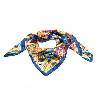 Women Multicolored Paisley Prints Polyester Square Kerchief