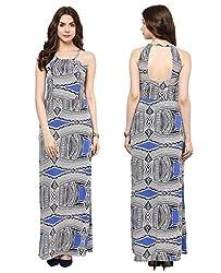 MARTINI Aqua Blue Sleeveless Back Cutout Printed Crepe Maxi