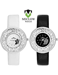 MECLOW Pair Of Round Black Dial & Black Leather Band Women's Watch, White Dial & White Leather Band Women's Watch...