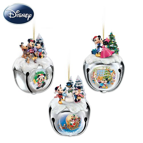 Disney Mickey And Minnie Mouse Christmas Sleigh Bells Ornaments: Set