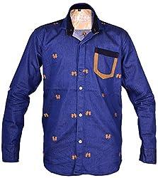 Kidzee 100% Cotton Blue Color Beautiful Embroidered Shirt