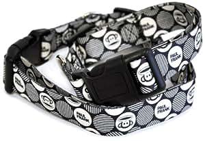 Paul Frank Dog Collar, Julius Med Dots, Black/Cream, Small