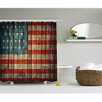 American USA Flag Decor by Ambesonne, USA Flag Patriotism Painted Old Wooden Looking Background Design, Polyester Fabric Bathroom Shower Curtain Set with Hooks, Blue Red