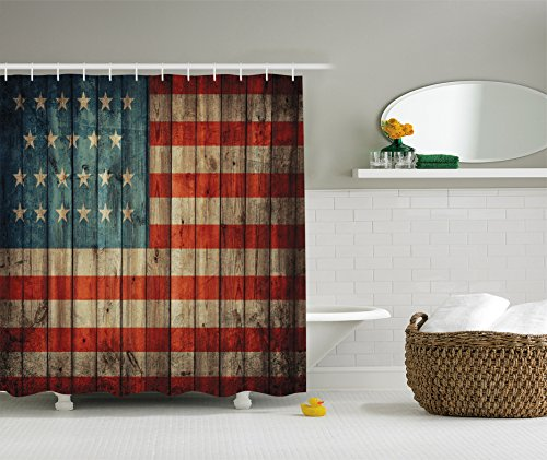 Ambesonne American Flag Decor Collection, USA Flag Patriotism Painted Old Wooden Looking Background Design, Polyester Fabric Bathroom Shower Curtain Set with Hooks, 84 Inches Extra Long, Blue Red (Rustic Curtain Panels compare prices)