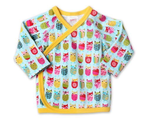Zutano Baby Girls' Owls Kimono Top, Aqua, 6 Months