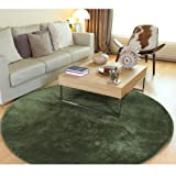 (OSJ)カーペット ラグ マット ラグマット 絨毯 円形 マイクロファイバー ラグ (φ185 グリーン) 約2畳滑り止め 洗える ウォッシャブル ホットカーペット対応 カーペットRUG CARPET carpet 5色選べる