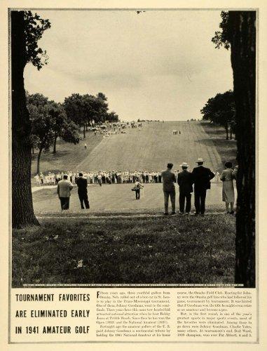 1941 Print National Amateur Golf Tournament Omaha Club Johnny Goodman Fairway - Original Halftone Print