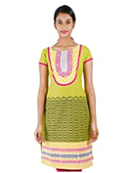 Light Green Casual Cotton Kurta With Printed Yoke From ESTYLe