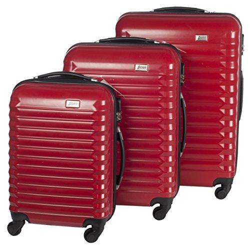 Penn, Set di Valigie Unisex Trolley 3 Pezzi Guscio Rigido in Policarbonato ABS 4 Ruote girevoli Finiture Lux Colore Rosso
