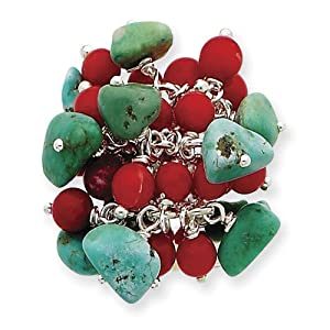 Sterling Silver Turquoise & Red Coral Ring by Shop4Silver
