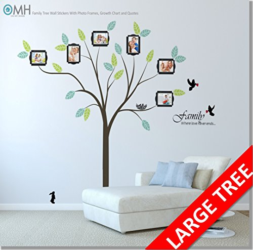 Large Family Tree Wall Decor Stickers with Photo Frames, Quotes ...