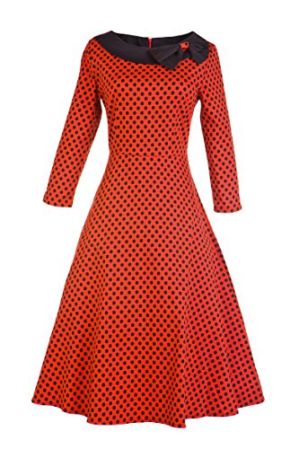 VOGTAGE 1950's 3/4 Sleeve Wave Point Retro Vintage Dress with Defined Waist Design M Size