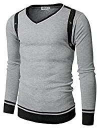 Doublju Mens V-Neck Sweater with Contrast Detail GRAY (US-L)