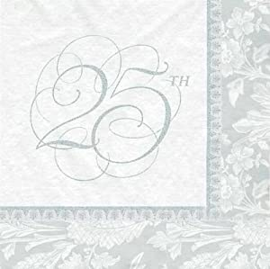 Wedding Elegance 25th Anniversary Lunch Napkins 16ct