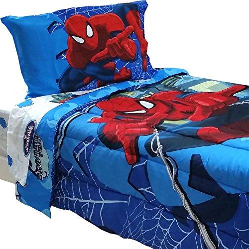 4pc Marvel Comics Spider-Man Twin Bedding Set Spidey Astonish Comforter and Sheet Set