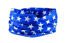 BLUE STAR RUFFNEK® Multifunctional scarf/neckwarmer for men, women & children - ski mask,head band,hat,cycling,running,horse riding,fashion by RUFFNEK®