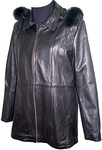 Paccilo 4 Season Wear Womens 4001 Plus Size Lambskin Leather Parka Jacket