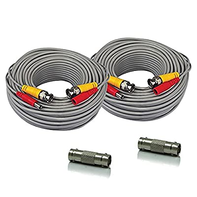 SEECOM 2Pack 60ft Pre-made All-in-One BNC Power and Video Surveillance Cable Siamese Cords Ready For HD Analog Cameras CCTV Security Cameras