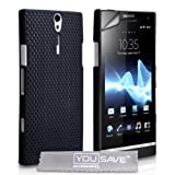 Sony Xperia S LT26i Black Mesh Hard Back Case Cover With Screen Protector Film And Grey Micro-Fibre Polishing Clothby Yousave Accessories