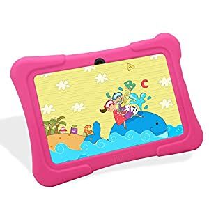 Dragon Touch Y88X 7-Inch Quad Core Android Kids Tablet with Wi-Fi, Camera and Games HD Kids Edition Zoodles Pre-Installed Bundle With Pink Silicone Case