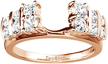 14k Gold Anniversary Ring Wrap Enhancer with White Sapphire 025 ct twt