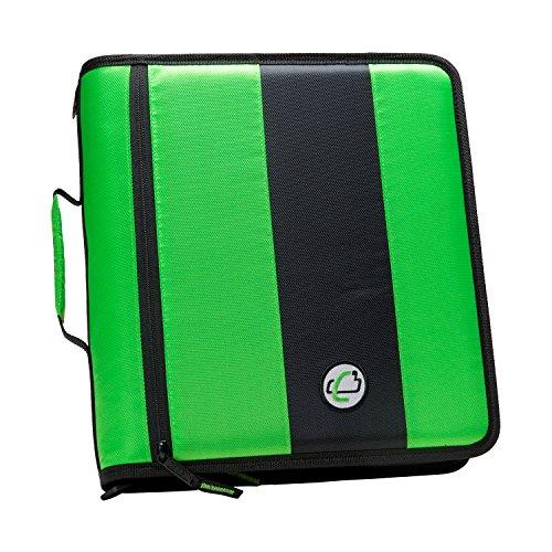 case-it-2-inch-ring-zipper-binder-neon-green-d-251-neogrn