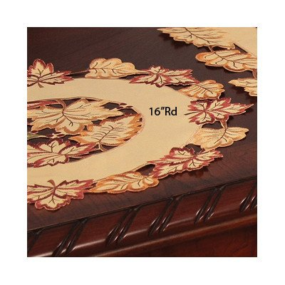 Xia Home Fashions Bountiful Leaf Embroidered Cutwork Round Harvest Placemats, 16-Inch, Set Of 4 front-513975