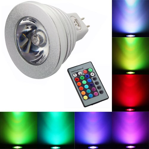 1Byone Romantic Crystal Led Light Mr16 Rgb 3W Led Bulb Lamp 16 Colors Change,Magic Bright Led Light Spotlight Energy Saving,Downlight Lighting For Party House Work Field With Remote Control