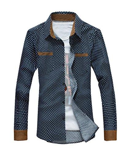 Fashion Mens Shirts Slim Fit Corduroy Round Point Brand Sleeved Shirts (XXL, Denim Blue)