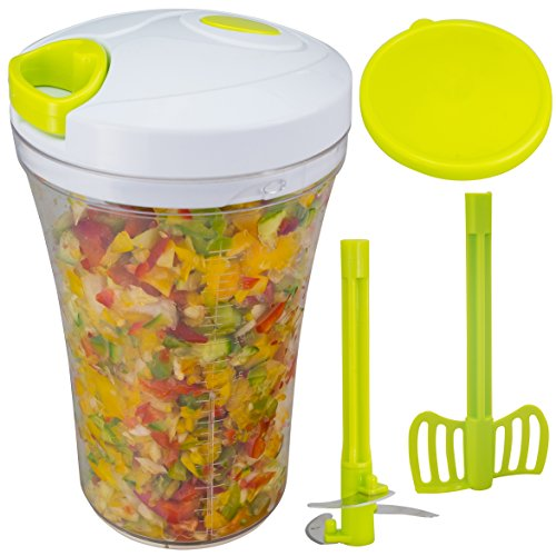 Brieftons QuickPull Food Chopper: Tall 4-Cup Hand Held Vegetable Chopper Mincer Blender to Chop Fruits, Veggies, Herbs, Onion, Garlic for Salsa, Salad, Pesto, Coleslaw, Puree, with Measuring Container (Garlic Onion Chopper compare prices)