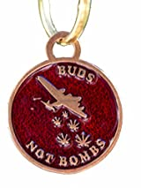 Buds Not Bombs High Flyer Panama Red Enamel Keychan