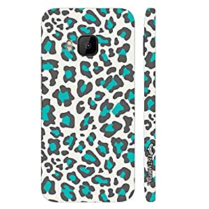 HTC One M9 White & Blue Cheetah designer mobile hard shell case by Enthopia
