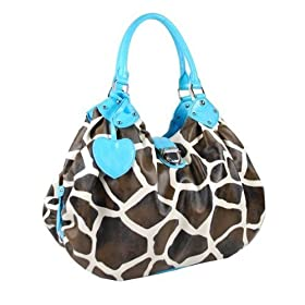 Blue Giraffe Animal Print Women Handbags Purses Large Push Lock Bag Blue Trim