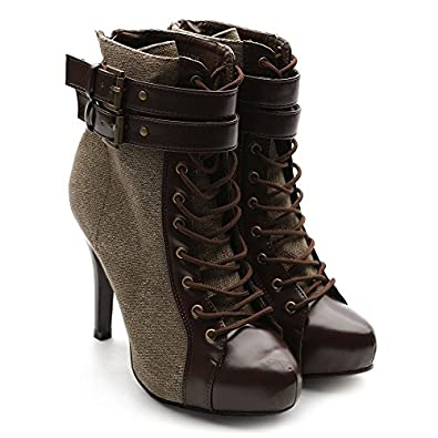 Ollio Women's Winter Shoe Lace Up Military Buckle High Heel Multi Color Ankle Boot (9 B(M) US, Coffee)