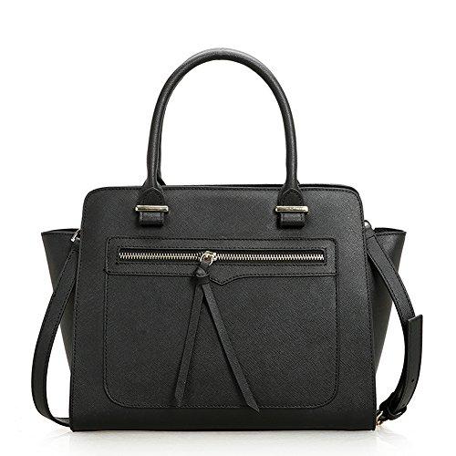 Fashion Genuine Leather Clutch Cross-Body Shoulder Handbag 010509 (Black)