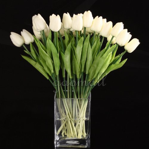White Tulip Flower Latex Real Touch For Wedding Bouquet KC451