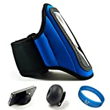 51OO9VGHgRL. SL160  Blue SumacLife Moisture Resistant Neoprene Hardcore Workout Armband for NEW Samsung Focus S Windows Mobile Phone 7.5 Mango by AT&T + Black Rubberized Silicone Suction Cup Stand + Motivational SumacLife TM Wisdom Courage Workout Wristband
