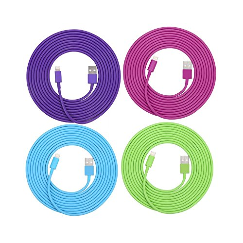 SEGMOI(TM) 4Pack 3Meter 10Ft Extra Long Lightning 8Pin To USB Data Sync & Charging Cable Charger Cord Power Lead Adapter For iPhone 5 5S 6 6S 6Plus iPad 4 5 Air Mini iPod Touch(Blue,Green,Purple,Hot Pink) (10 Feet Lightning Cable Pink compare prices)