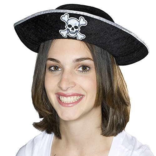 Silver Adult Felt Pirate Hat